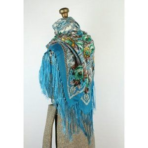 Accessories - Gorgeous Russian large shawl floral design fringe